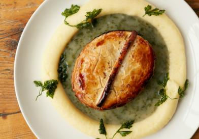 Traditional pie and mash, with parsley liquor or gravy